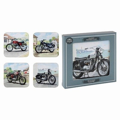 Set of 4 Classic Motorcycles Coasters Collection