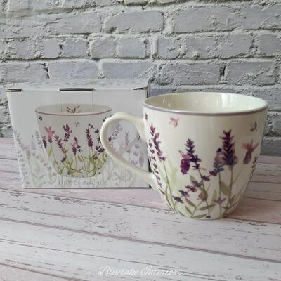 Fine China Lavender Design Breakfast Mug