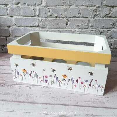 Yellow & White Busy Bees & Floral Design Egg Crate Holder