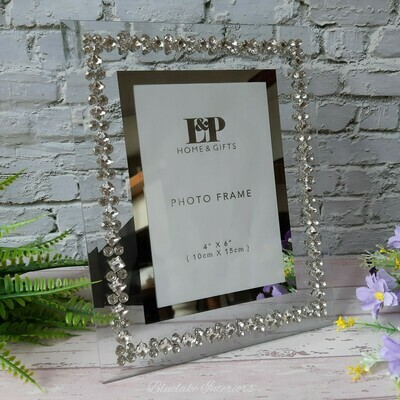 """Mirror Crystal Free Standing Photo Frame 4x6"""""""