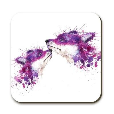 Wraptious Splatter Sweet Kisses Foxes Coaster