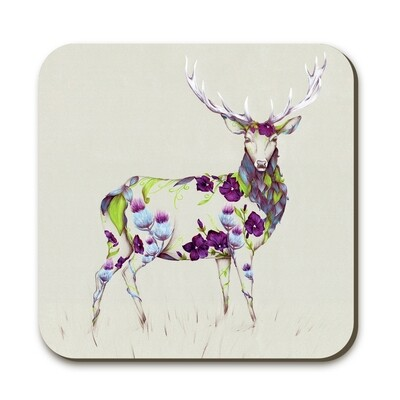 Wraptious Rustic Stag Coaster With Gorgeous Floral Print