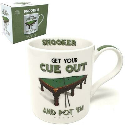Get Your Cue Our And Pot 'Em Gift Boxed Snooker Themed Mug