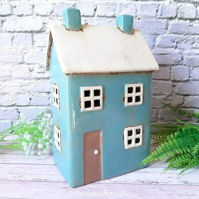 Large Blue Village Pottery Rustic House Ceramic Tea Light Candle Holder
