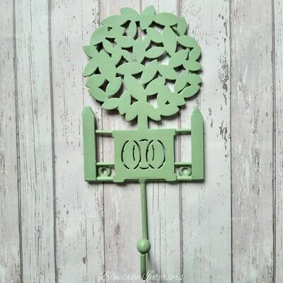 Vintage Style Single Green Bay Tree Metal Hook