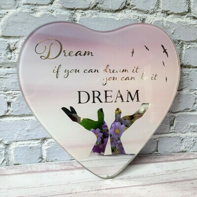 Dream If You Can Dream It You Can Do It Mirrored Glass Hanging Heart