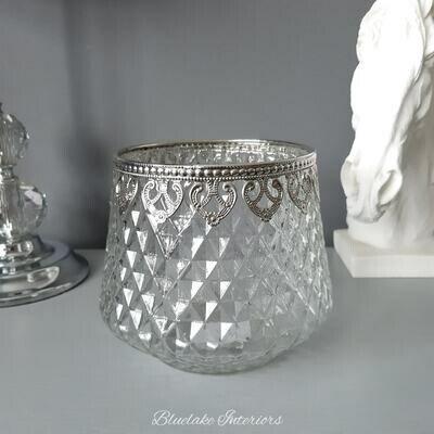 Large Clear Glass Diamond Cut Candle Holder