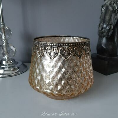 Large Antique Gold Glass Diamond Cut Candle Holder