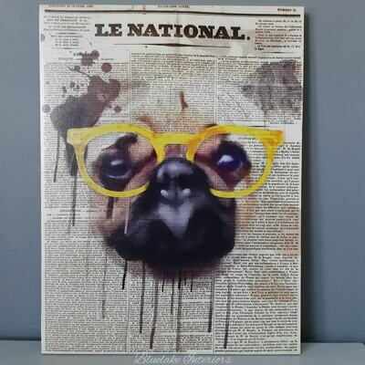 Quirky Pug In Glasses Canvas With Newspaper Script