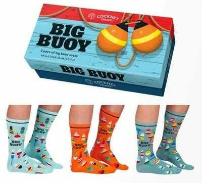3 Pairs Nautical Themed Gift Boxed Mens Socks by Cockney Spaniel Big Buoy 6-11