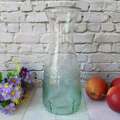 Ombre Green Glass Carafe Table Drink Dispensers Garden Barbecue Summer