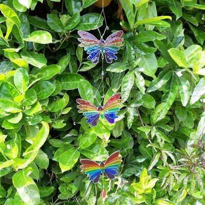 Triple String Of Butterflies Coloured Suncatcher