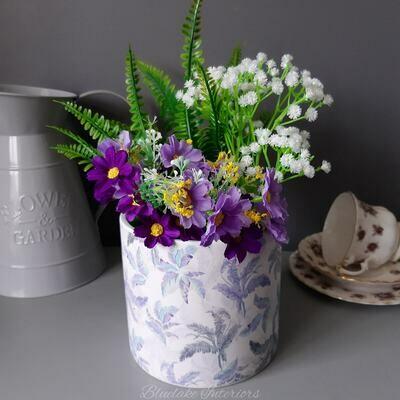 Blue Tone Leaf Print Ceramic Plant Pot