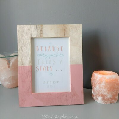 Dipped Pink Wooden Free Standing Photo Frame