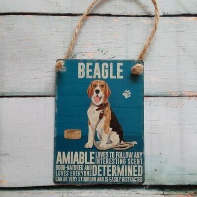 Beagle Mini Metal Hanging Dog Sign Pet Lovers Wall Decoration