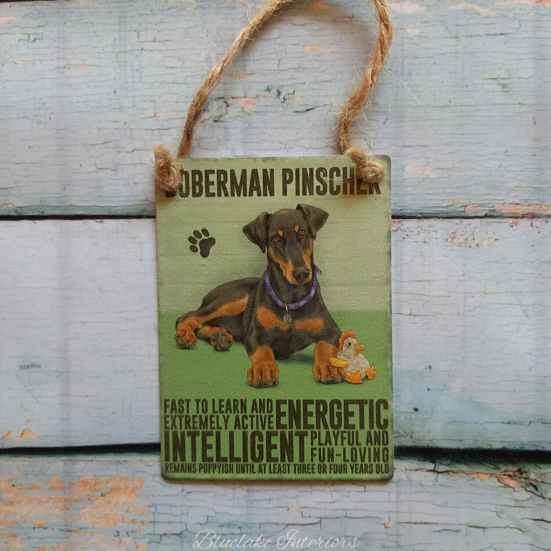 Doberman Pinscher Mini Metal Hanging Dog Sign Pet Lovers Wall Decoration