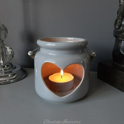 Desire Aroma Grey Ceramic Cut Out Heart Candle Lantern