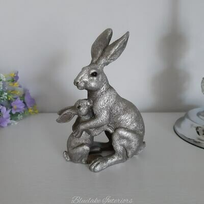 Reflections Silver Hare & Baby Ornament Gift Boxed Figurine