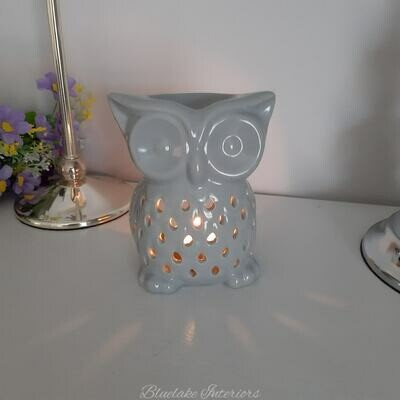 Grey Ceramic Owl Design Wax Melt & Oil Burner Home Fragrance