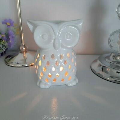 White Ceramic Owl Design Wax Melt & Oil Burner Home Fragrance