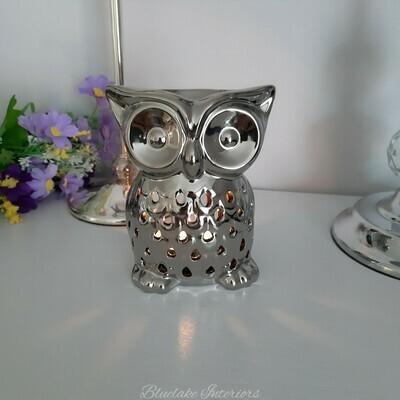 Silver Ceramic Owl Design Wax Melt & Oil Burner Home Fragrance