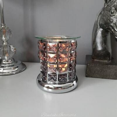 Stunning Grey Crystal Design Wax Melt & Oil Burner Home Fragrance Aromatherapy