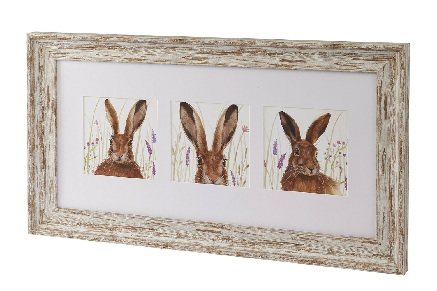 Beautiful Triple Hare Wall Picture With White Washed Frame