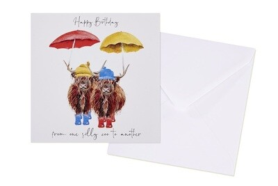 Happy Birthday From One Silly Coo To Another Highland Cow Greeting Card