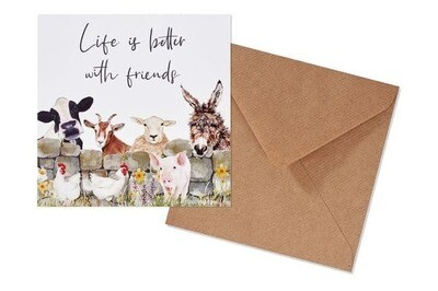 Life Is Better With Friends Farmyard Design Greeting Card