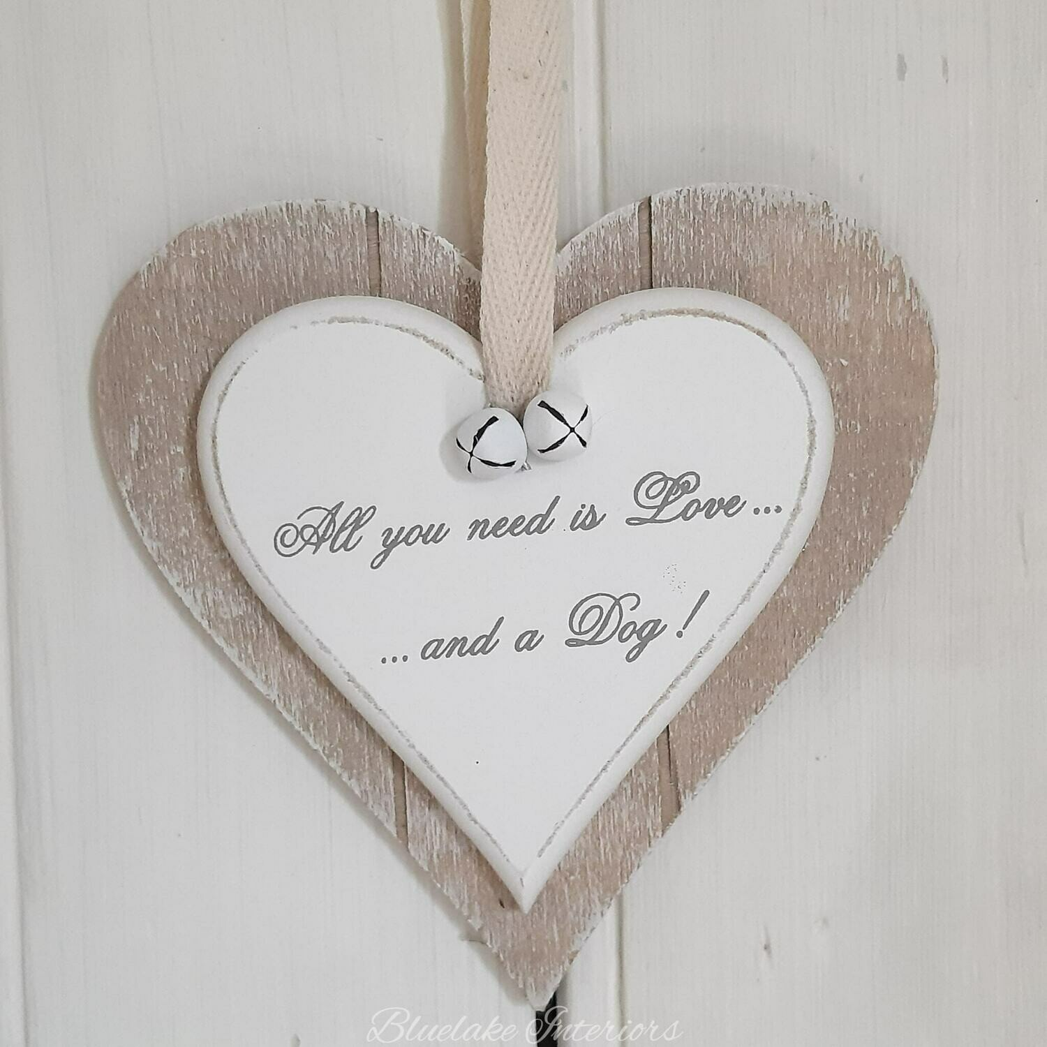 All You Need Is Love And A Dog Wooden Double Hanging Heart
