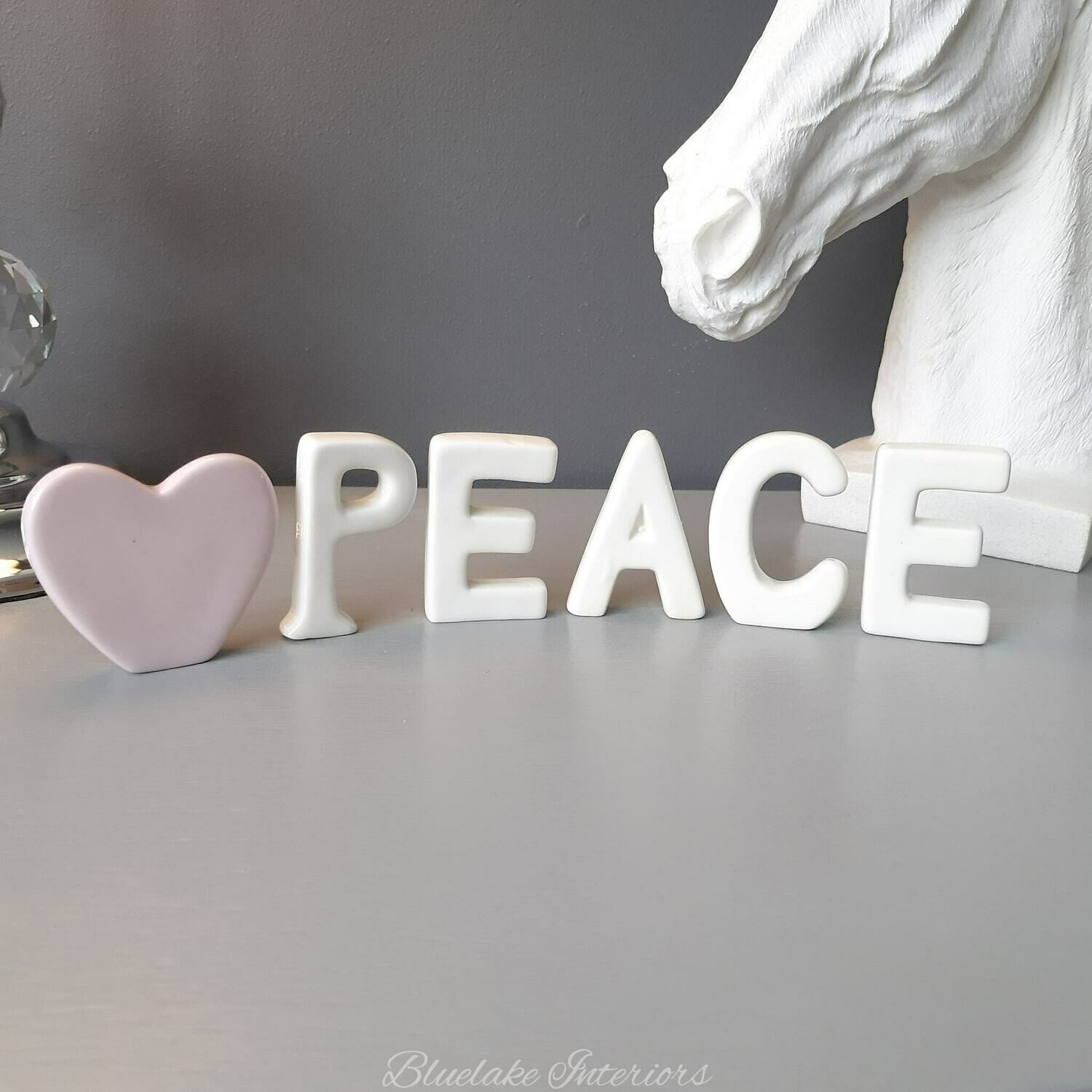 Free Standing Ceramic Peace Letters With Pink Heart