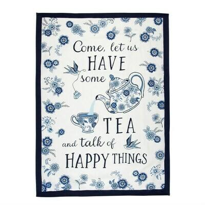 Blue Willow Come Let Us Have Some Tea Kitchen Tea Towel
