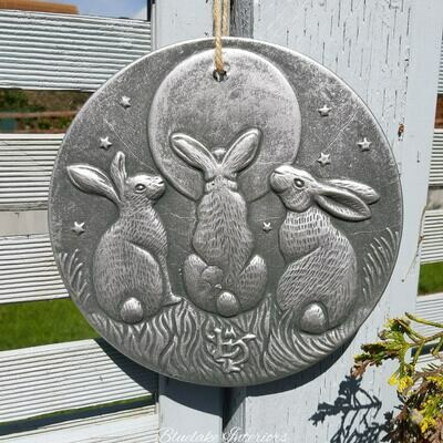 Silver Effect Moon Shadow Gazing Hares Plaque By Lisa Parker