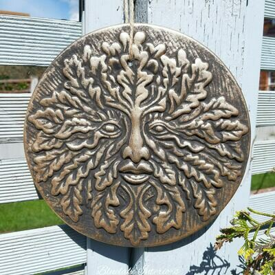 Copper Effect Green Man Round Plaque Man Of The Woods Pagan Decoration