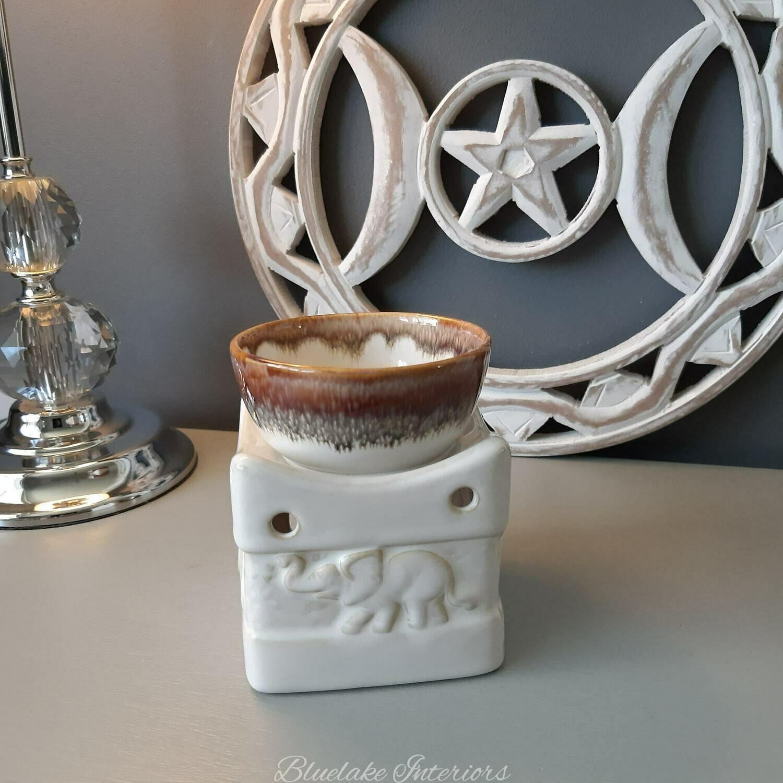 Two Tone Glazed Ceramic Elephant Design Wax Melt & Oil Buner