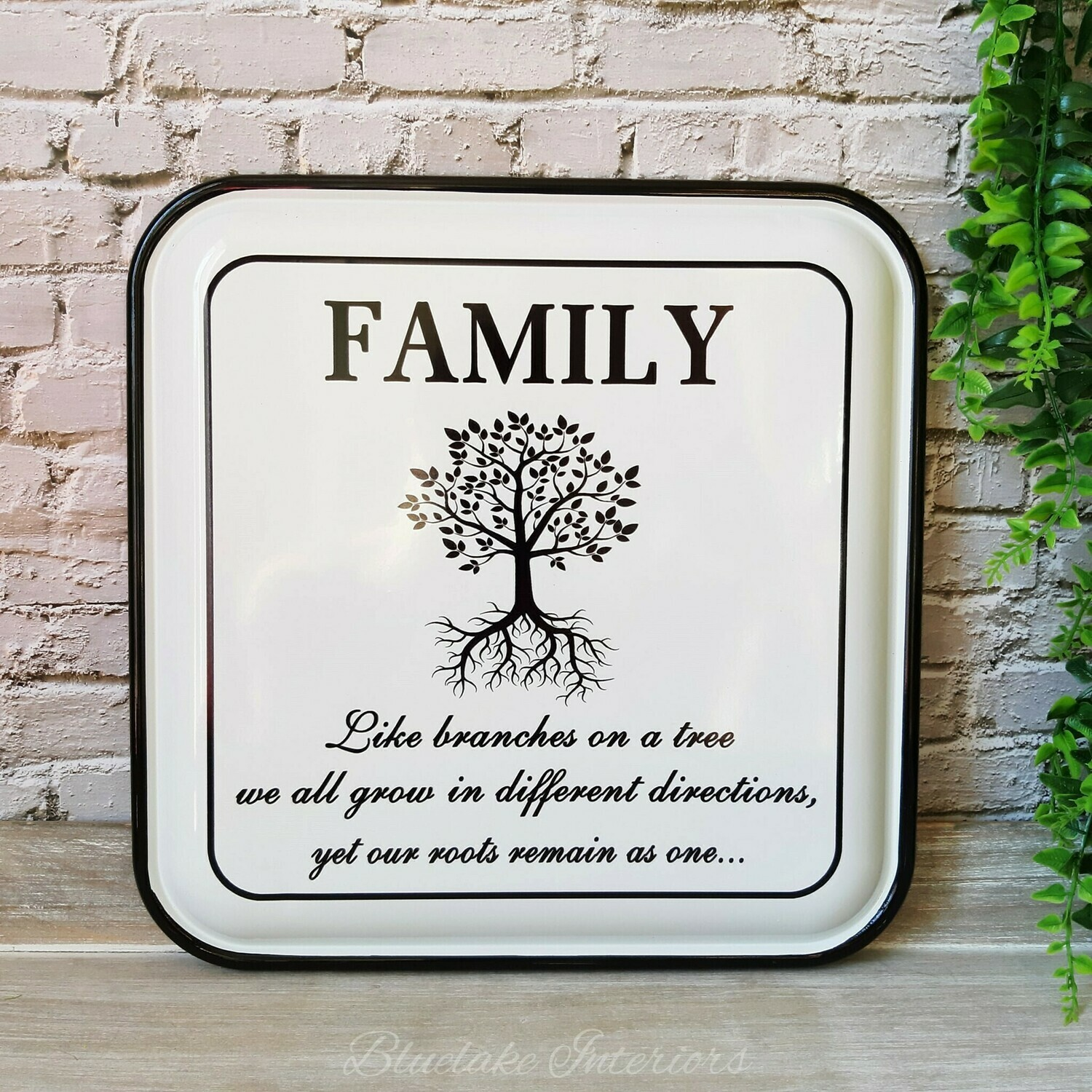 Family Like Branches On A Tree Vintage Style Square Enamel Wall Plaque