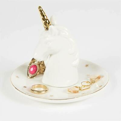 Ceramic White Stargazer Unicorn Jewellery Trinket Dish