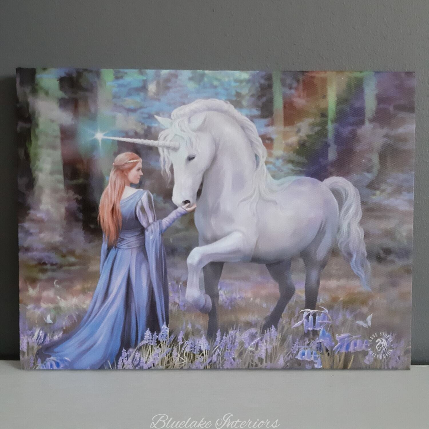 Bluebell Woods Unicorn Canvas Picture By Anne Stokes
