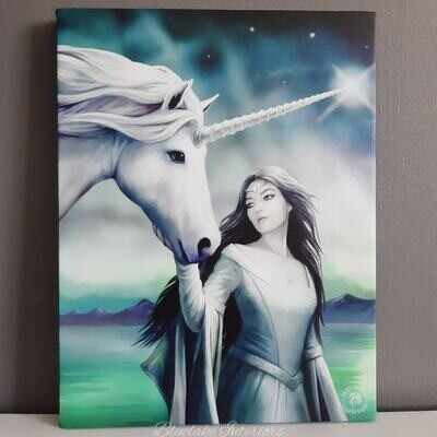 North Star Fantasy Unicorn Canvas Wall Picture by Anne Stokes