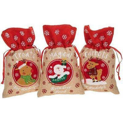 Set Of 3 Santa Surprise Reindeer Rustic Hessian Food Sack Santa Rudolph Christmas Treats