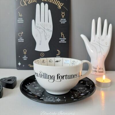 Fortune Telling Ceramic Tea Cup & Saucer