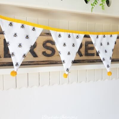 Small All Over Bumble Bee Design White Fabric Summer Bunting