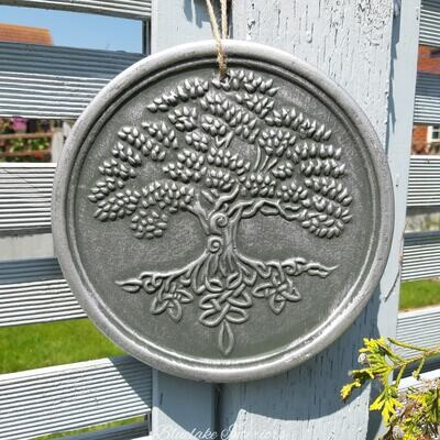 Silver Effect Tree Of Life Plaque By Lisa Parker
