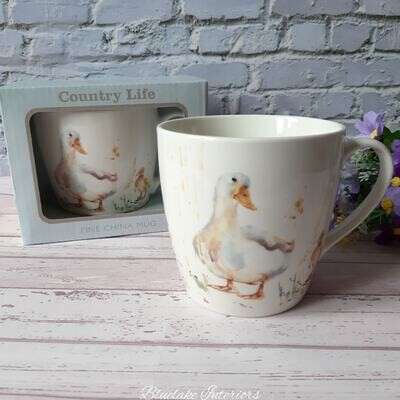 Country Life Water Colour Inspired Duck Design Breakfast Mug Gift Boxed