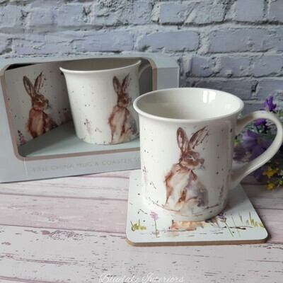 Country Life Water Colour Inspired Hare Gift Boxed Mug & Coaster Set