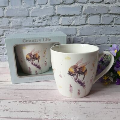 Country Life Water Colour Inspired Bee & Lavender Design Breakfast Mug Gift Boxed