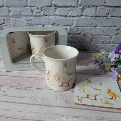 Country Life Water Colour Inspired Duck Gift Boxed Mug & Coaster Set