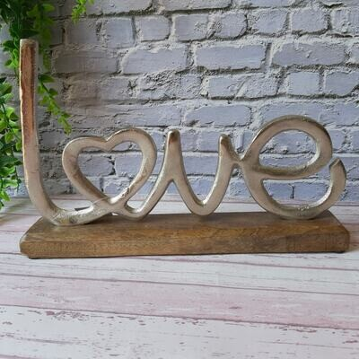 Silver Love Plaque on a Wooden Base *Seconds*