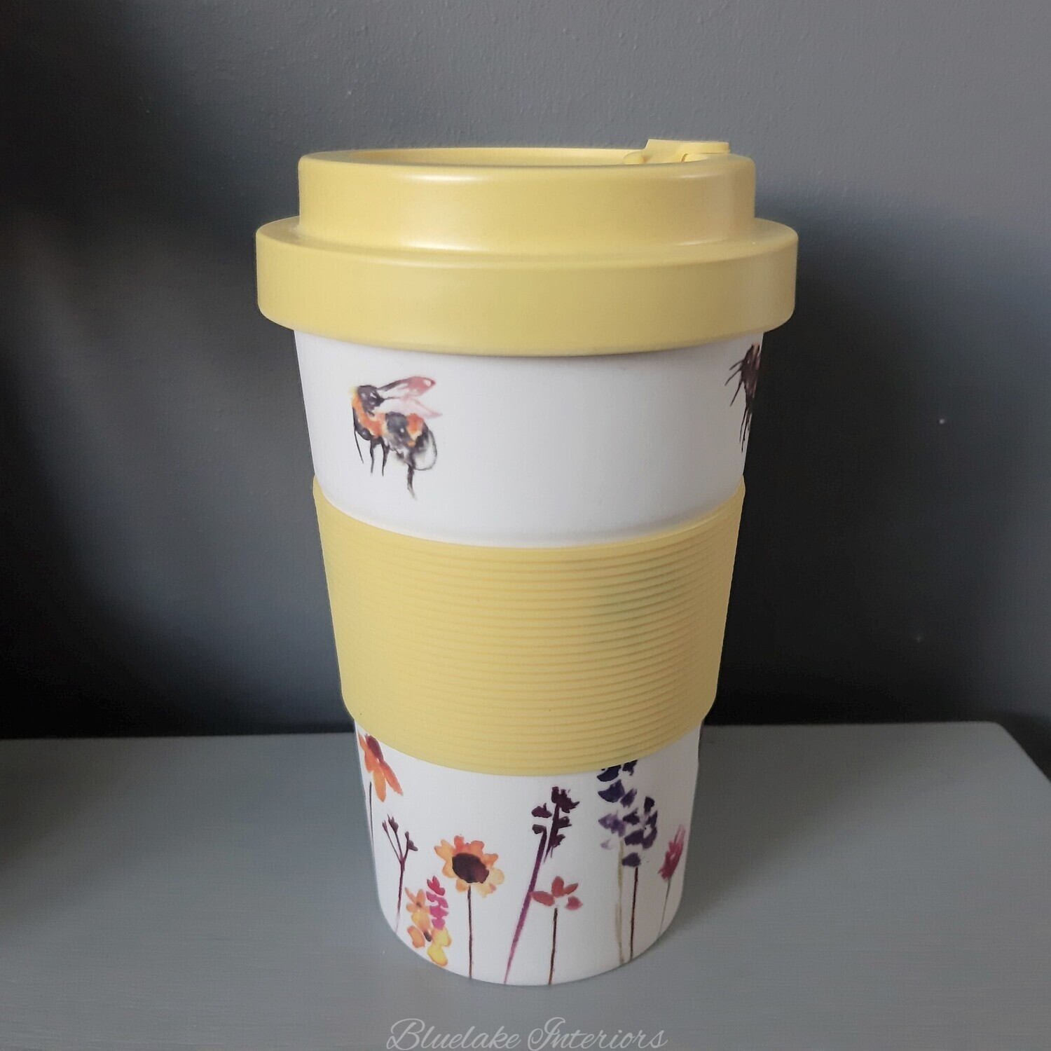 Busy Bees & Flowers Bamboo Travel Mug From The Jennifer Rose Collection