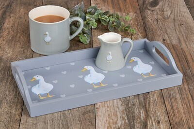 Gorgeous Grey Country Tray With Ducks & Hearts